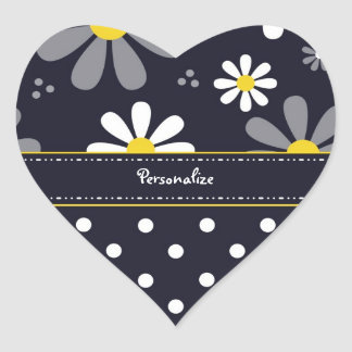 Girly Mod Daisies and Polka Dots With Name Heart Sticker