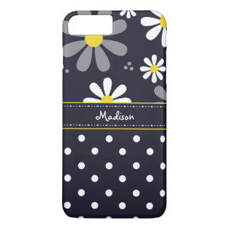 Girly Mod Daisies and Polka Dots With Name iPhone 7 Plus Case