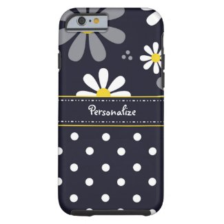 Girly Mod Daisies and Polka Dots With Name iPhone 6 Case