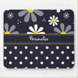 "Girly Mod Daisies and Polka Dots With Name Mouse Pad<br><div class=""desc"">A mousepad with a girly retro mod flower pattern on the top with white daisies with yellow centers against a navy blue background,  and a trendy blue and white polka dot pattern on the bottom. Personalize by adding your name. Perfect present for a stylish girly girl.</div>"