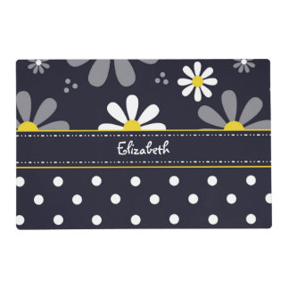 Girly Mod Daisies and Polka Dots With Name Laminated Placemat
