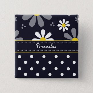 Girly Mod Daisies and Polka Dots With Name Pinback Button