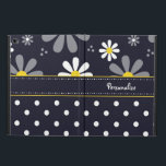 "Girly Mod Daisies and Polka Dots With Name Powis iPad Air 2 Case<br><div class=""desc"">An iPad Air 2 Case with Kickstand with a girly retro mod flower pattern on the top with white daisies with yellow centers against a navy blue background, and a trendy blue and white polka dot pattern on the bottom. Personalize by adding your name. Perfect present for a stylish girly...</div>"