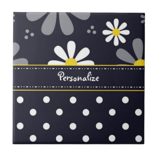 Girly Mod Daisies and Polka Dots With Name Tile