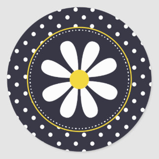 Girly Mod Daisy and Polka Dots Classic Round Sticker