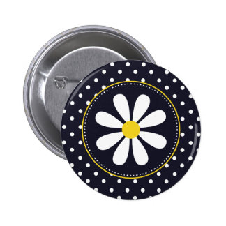 Girly Mod Daisy and Polka Dots Pinback Button