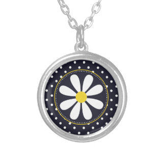 Girly Mod Daisy and Polka Dots Round Pendant Necklace