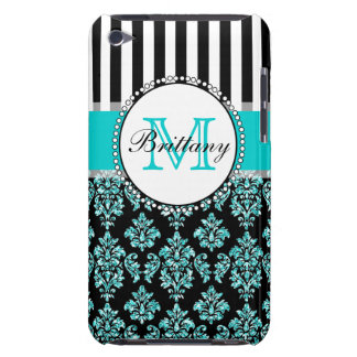 Girly Modern Aqua Teal Glitter Damask Personalized Barely There iPod Cases