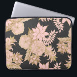 "Girly Modern Blush Pink Gold Floral Illustrations Laptop Sleeve<br><div class=""desc"">This girly and modern blush pink and faux printed gold floral illustrations on black is perfect for the trendy and stylish woman. Its chic and fashionable print is great for many gifts and occasions. Enjoy this simple and elegant print for your next purchase; for yourself, your friends, or your family....</div>"