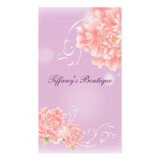 girly modern chic purple pink peony flower business card