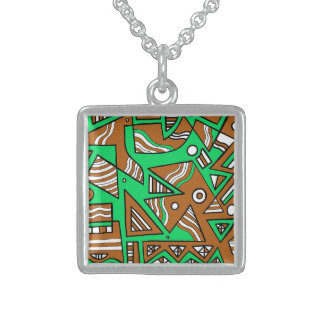 Girly Modern Classic Great Square Pendant Necklace