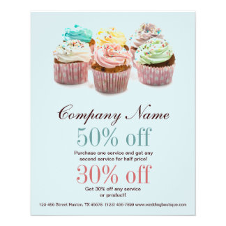 girly modern elegant bakery colorful cupcake flyer