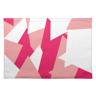 Girly Modern Geometric Pattern in Coral and Pink Cloth Placemat