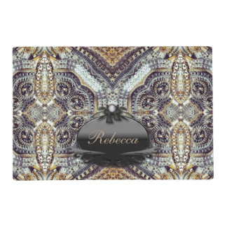 girly modern gold grey Exotic Medallion pattern Laminated Placemat