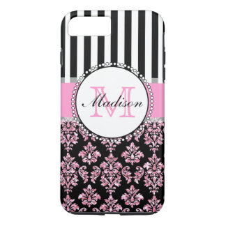 Girly Modern Pink Glitter Damask Personalized iPhone 7 Plus Case