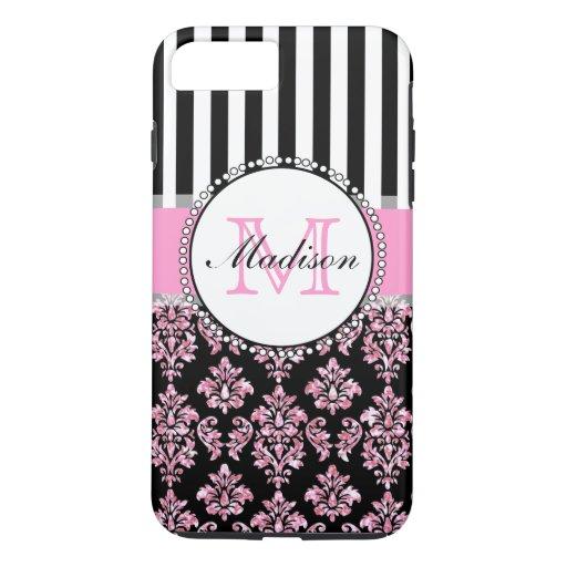 ... Modern Pink Glitter Damask Personalized iPhone 7 Plus Case : Zazzle