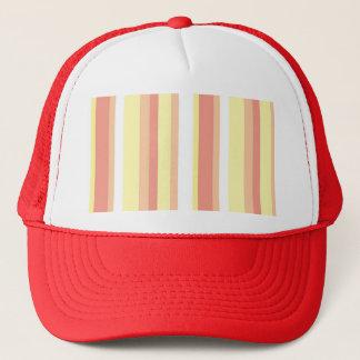 Girly Modern Pink Yellow Stripes Pattern Trucker Hat