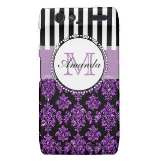 Girly Modern Purple Glitter Damask Personalized Motorola Droid RAZR Cases