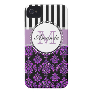 Girly Modern Purple Glitter Damask Personalized Case-Mate iPhone 4 Cases