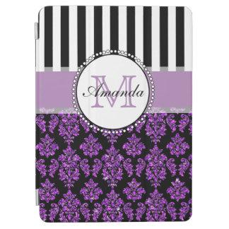 Girly Modern Purple Glitter Damask Personalized iPad Air Cover