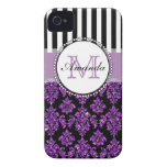 Girly Modern Purple Glitter Damask Personalized iPhone 4 Case-Mate Case