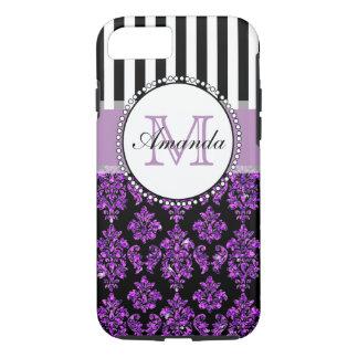 Girly Modern Purple Glitter Damask Personalized iPhone 7 Case