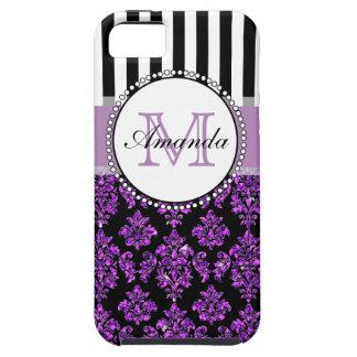 Girly Modern Purple Glitter Damask Personalized iPhone SE/5/5s Case