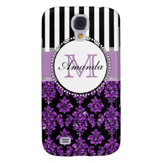 Girly Modern Purple Glitter Damask Personalized Samsung Galaxy S4 Case