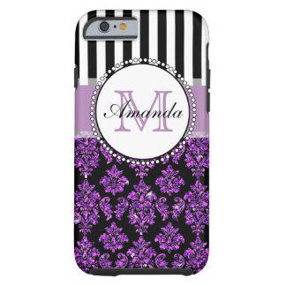 Girly Modern Purple Glitter Damask Personalized Tough iPhone 6 Case