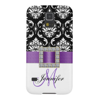 Girly Modern Purple Ribbon Black Damask Galaxy S5 Case