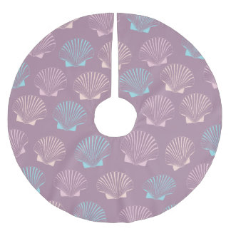 Girly modern summer colorful seashell pattern brushed polyester tree skirt