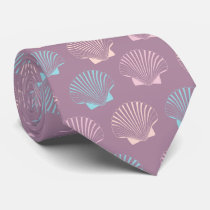 Girly modern summer colorful seashell pattern neck tie