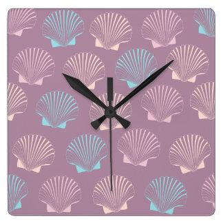 Girly modern summer colorful seashell pattern square wall clock