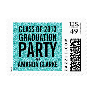 Girly Modern Teal Glitter Graduation Party Stamp
