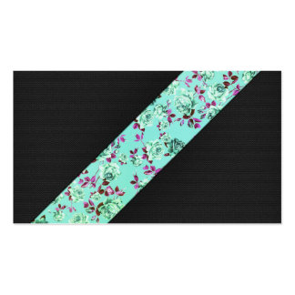 Girly Modern Trendy Hipster Aqua Floral Stripe Business Card Templates