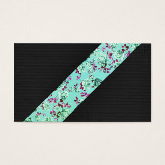 Girly Modern Trendy Hipster Aqua Floral Stripe Business Card