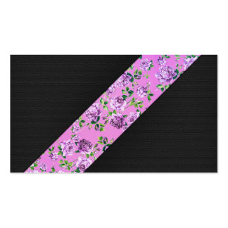 Girly Modern Trendy Hipster Pink Floral Stripe Business Card Template