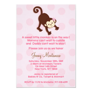 Girly Monkey Baby Shower Invitations Template