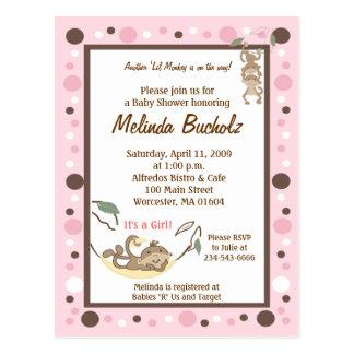 Girly Monkey Business Pink Brown Invitation Postcard