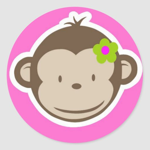 Girly Monkey Classic Round Sticker