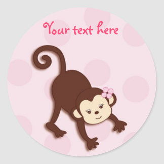 Girly Monkey Dots Stickers Envelope Seals