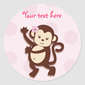 Girly Monkey Stickers Envelope Seals