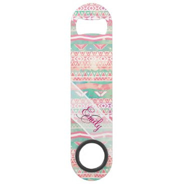 Aztec Themed Girly Monogram Aztec Watercolor Turquoise Pink Bar Key