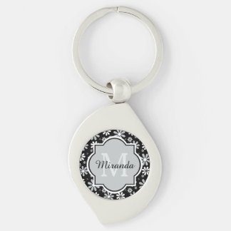 Girly Monogram Black White Daisy Flowers With Name Keychain