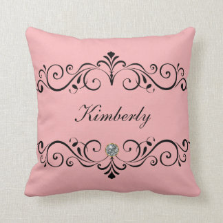 Girly Monogram Bling Throw Pillow