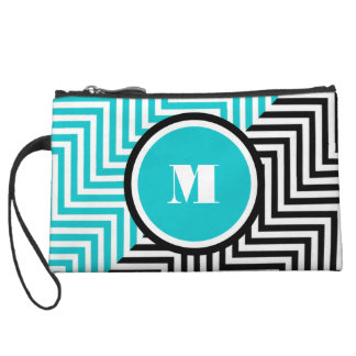 Girly monogram blue black wristlet purse