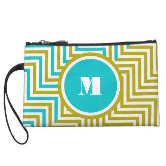 Girly monogram blue green wristlet purse