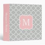 Girly Monogram Blush Pink Gray School Binder