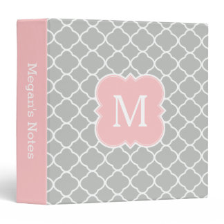 Girly Monogram Blush Pink Gray School Binder