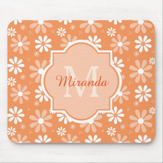 Girly Monogram Cute Orange Daisy Flowers and Name Mouse Pad
